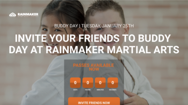 martial arts school buddy day invitation landing page