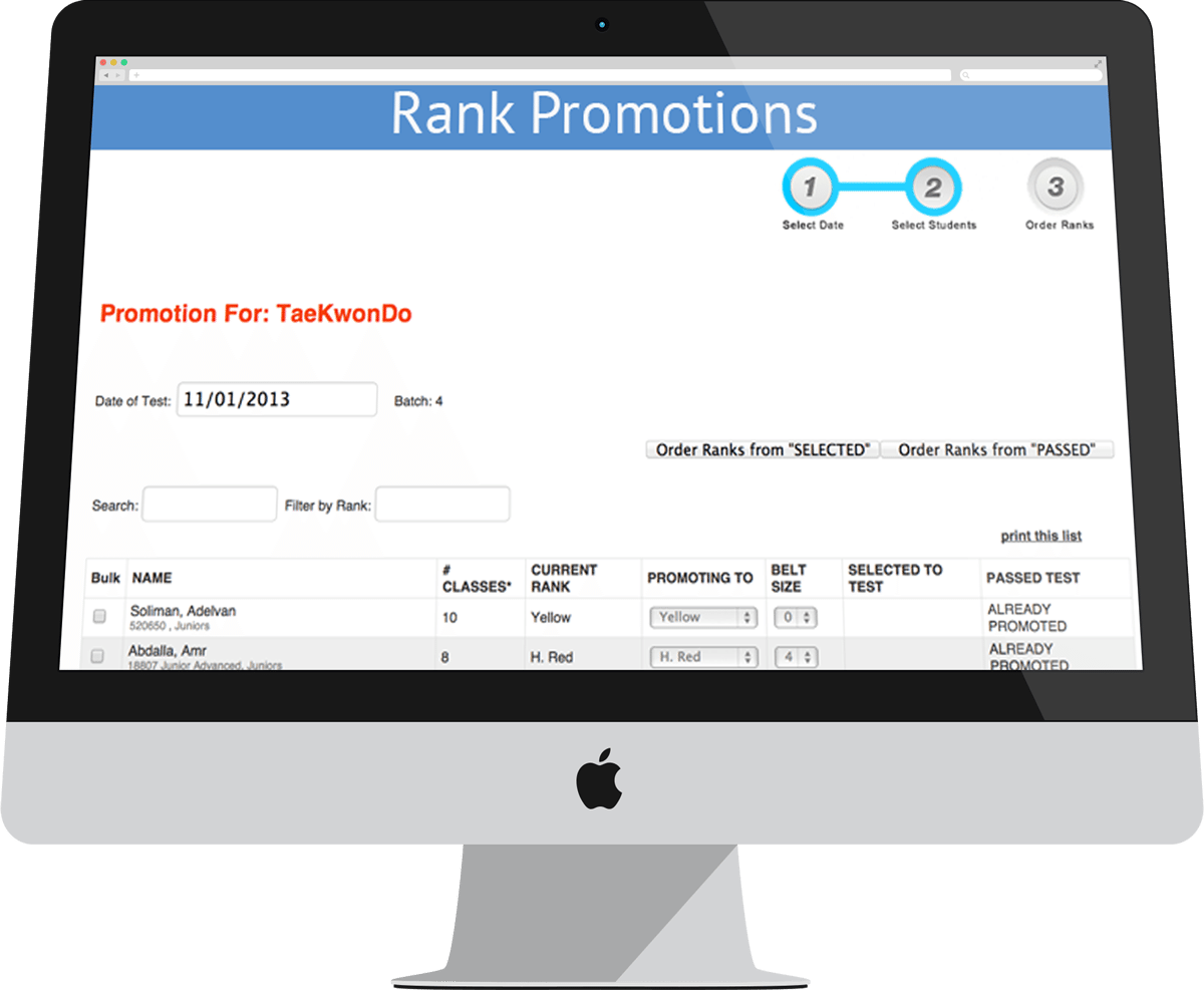 rank tracking software for martial arts schools